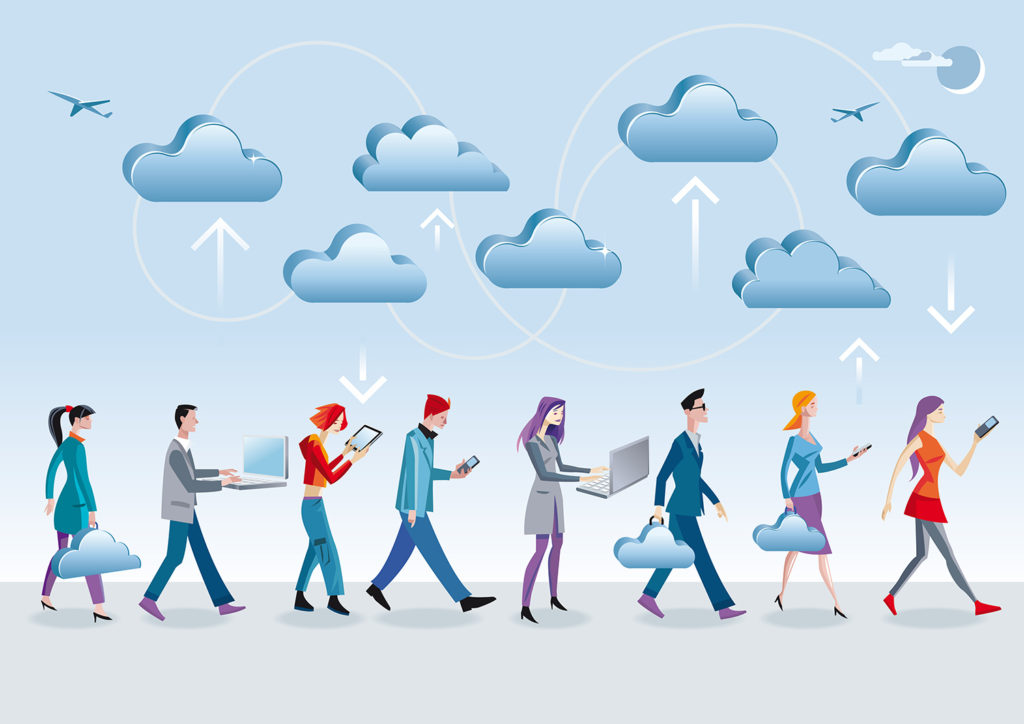 people walking under clouds with technology